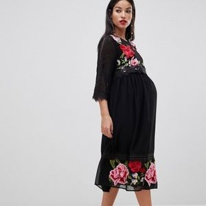 NWT ASOS Maternity double layer embroidered dress